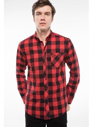 DeFacto Slim Fit Tek Cep Kareli Gömlek Kırmızı